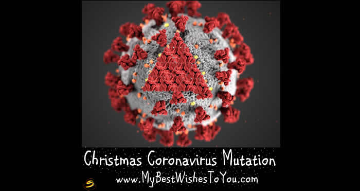 Funny picture of the coronavirus transformed at Christmas.